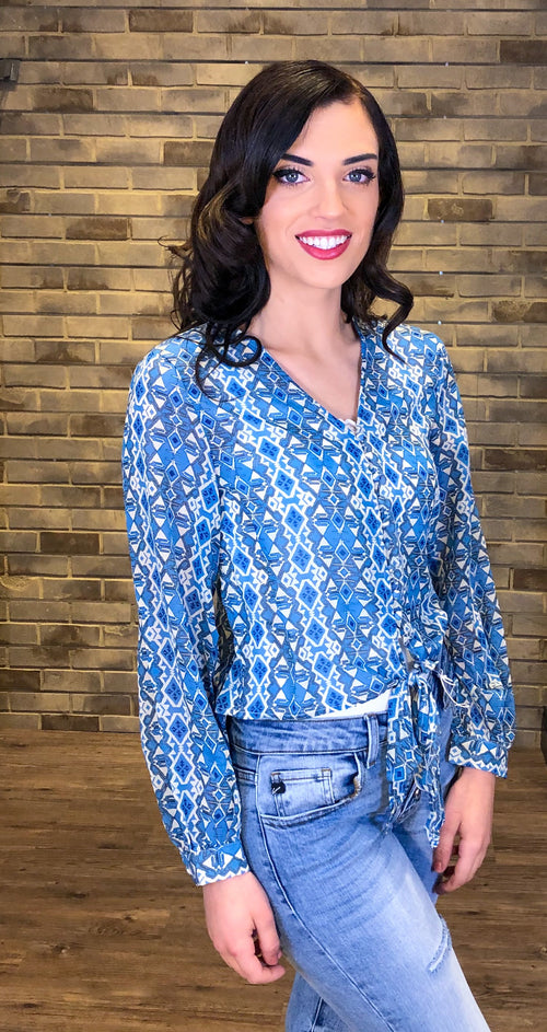 Blue Geometric V Neck Button Down Blouse with Tie