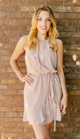 Golden Glow Tiered 3/4 Sleeve Dress