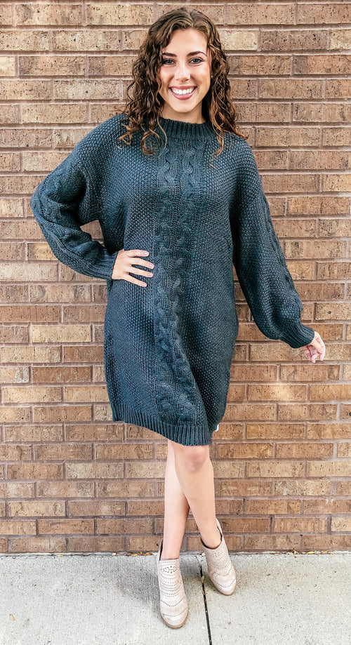 Charcoal Cable Knit Longsleeve Sweater Dress