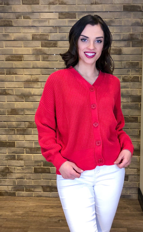 Cherry Red Button Front Knit Cardigan