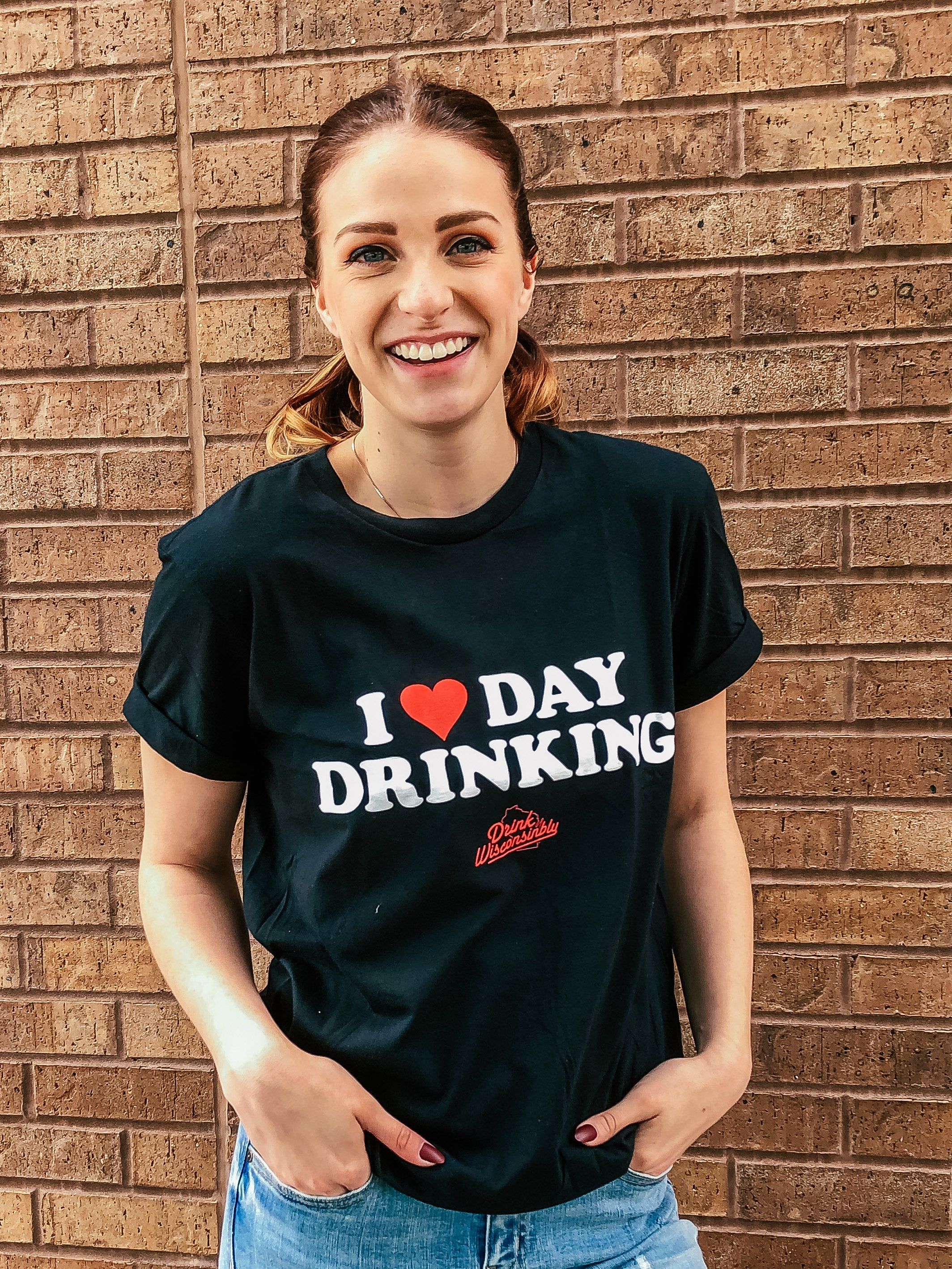 Drink Wisconsinbly I Heart Day Drinking T-Shirt