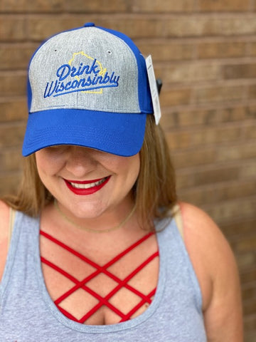 Grey and Black Drink Wisconsinbly Hat