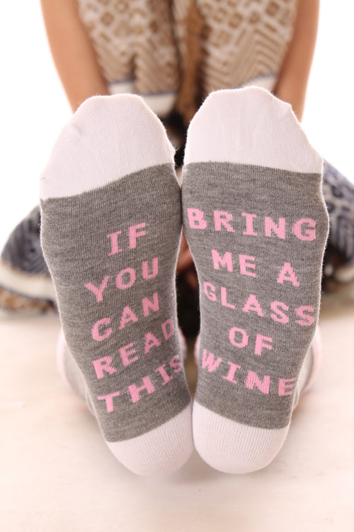 Bring Me Wine Socks in Heather Gray/Pink