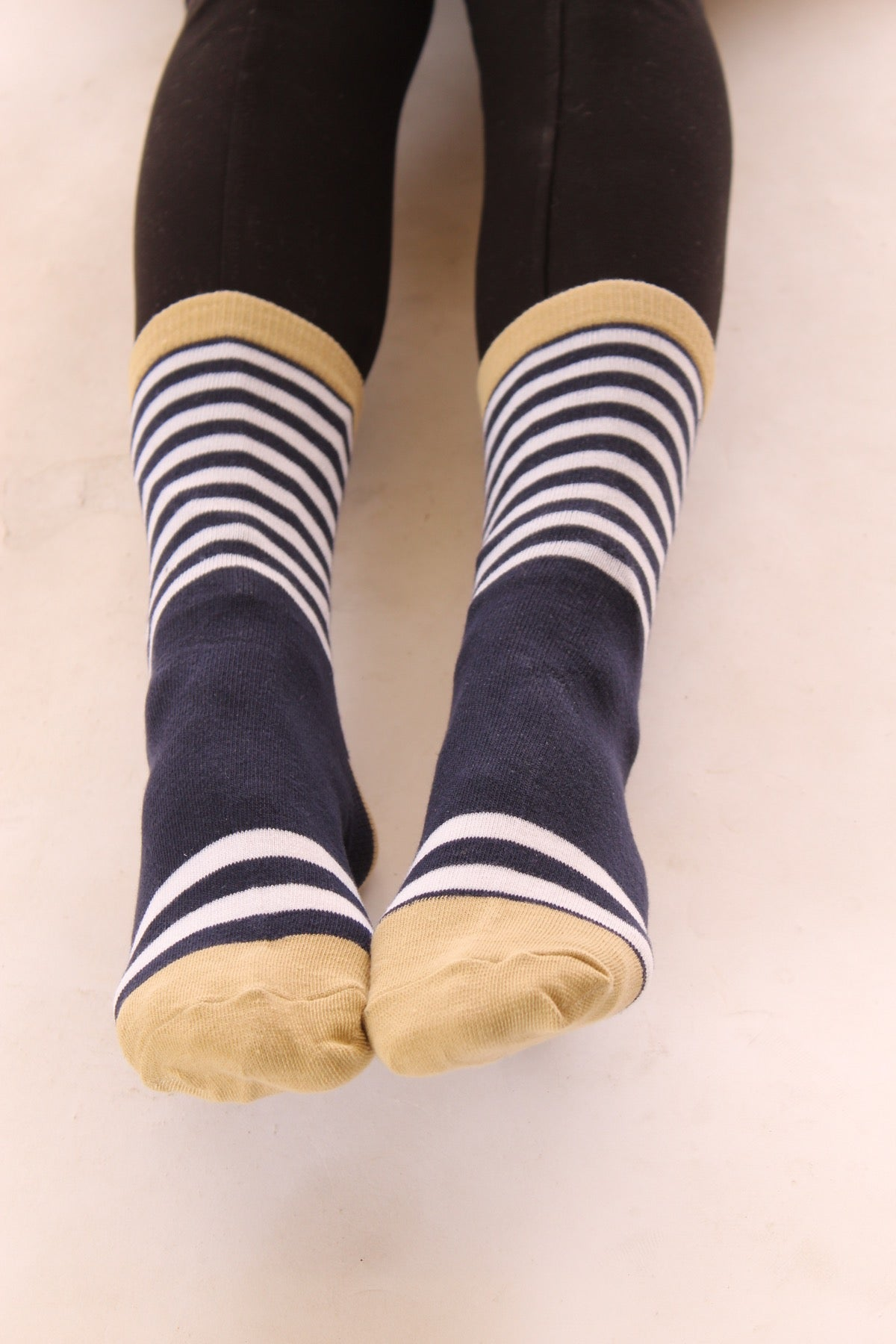 Bring Me Coffee Socks in Blue/White/Tan