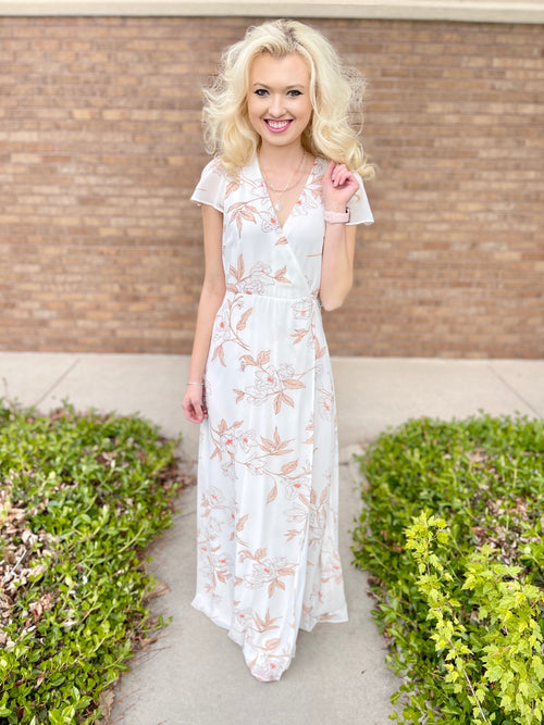 Cream Floral Formal Maxi Dress With Cap Sleeve