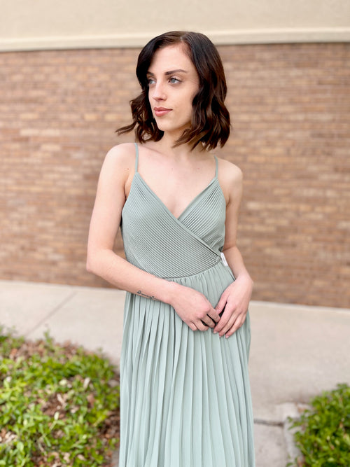 Dusty Sage Pleated Formal Maxi Dress