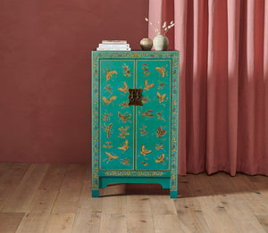 Oriental decorated blue medium cabinet
