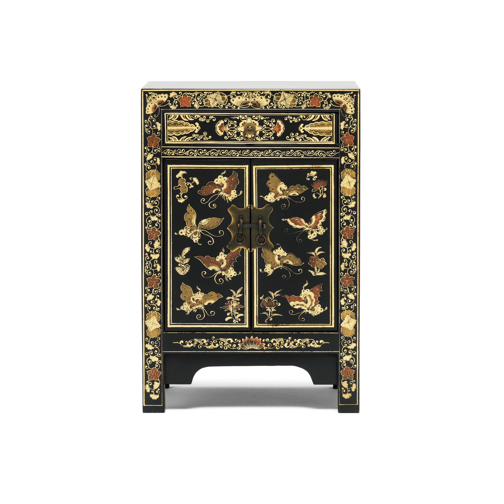 Oriental decorated black small cabinet