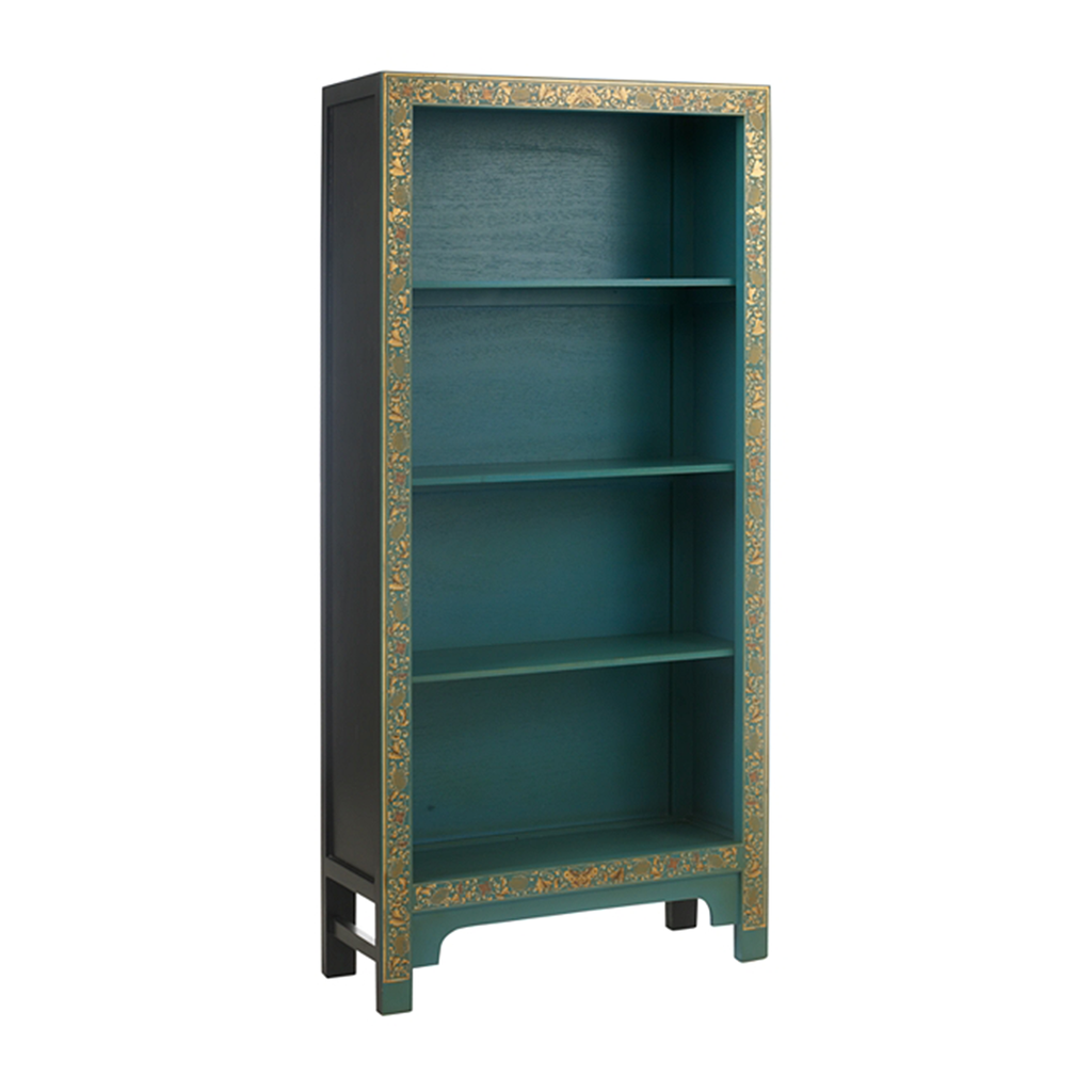 Oriental decorated bookcase in blue