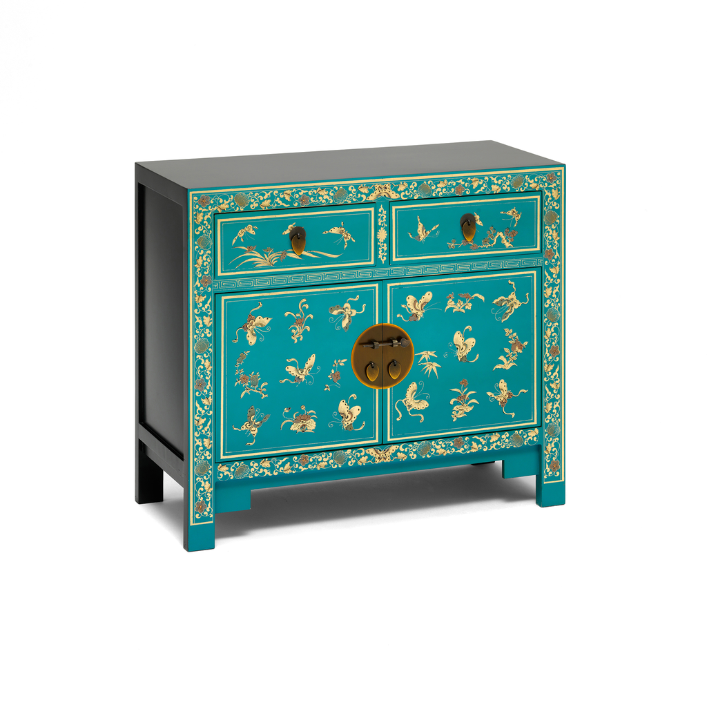 Oriental decorated blue sideboard