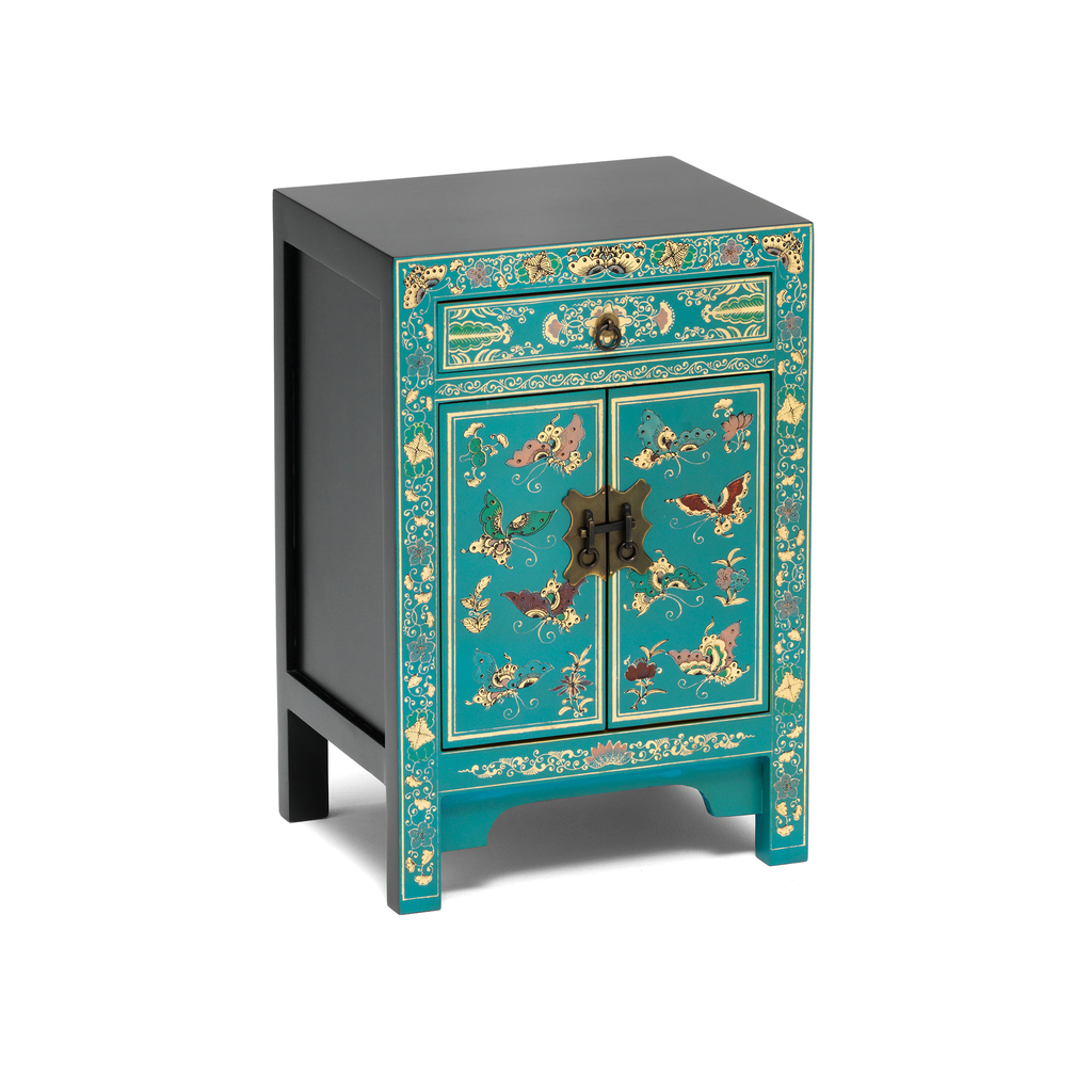 Oriental decorated blue small cabinet