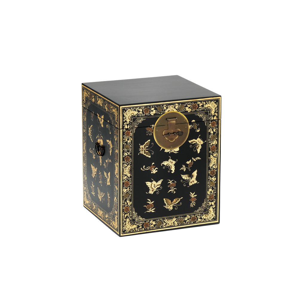 Oriental decorated black trunk