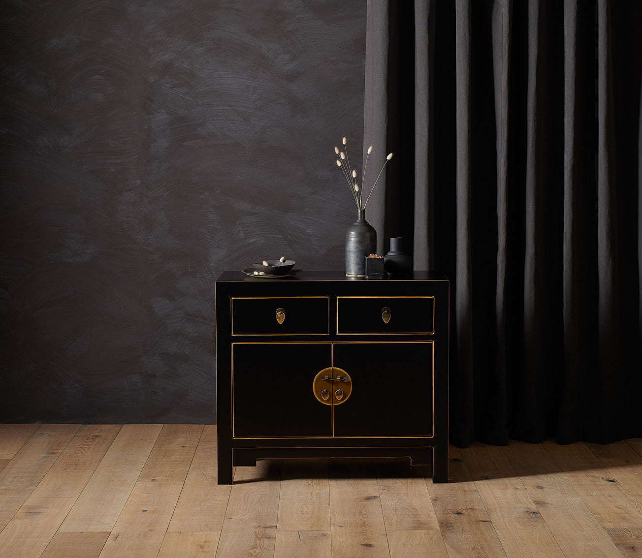 Qing black and gilt medium sideboard