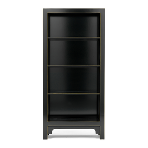 Qing black and gilt large bookcase