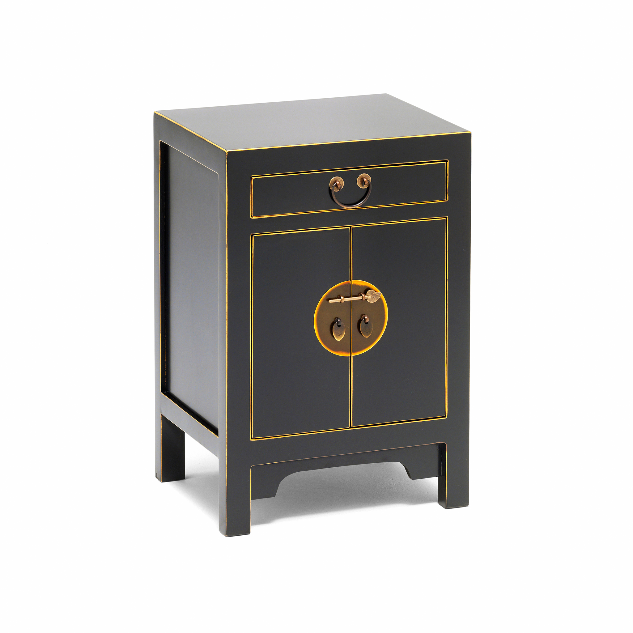 Qing black and gilt small cabinet