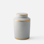 White Column Jar with Gold Trim