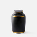 Black Column Jar with Gold Trim