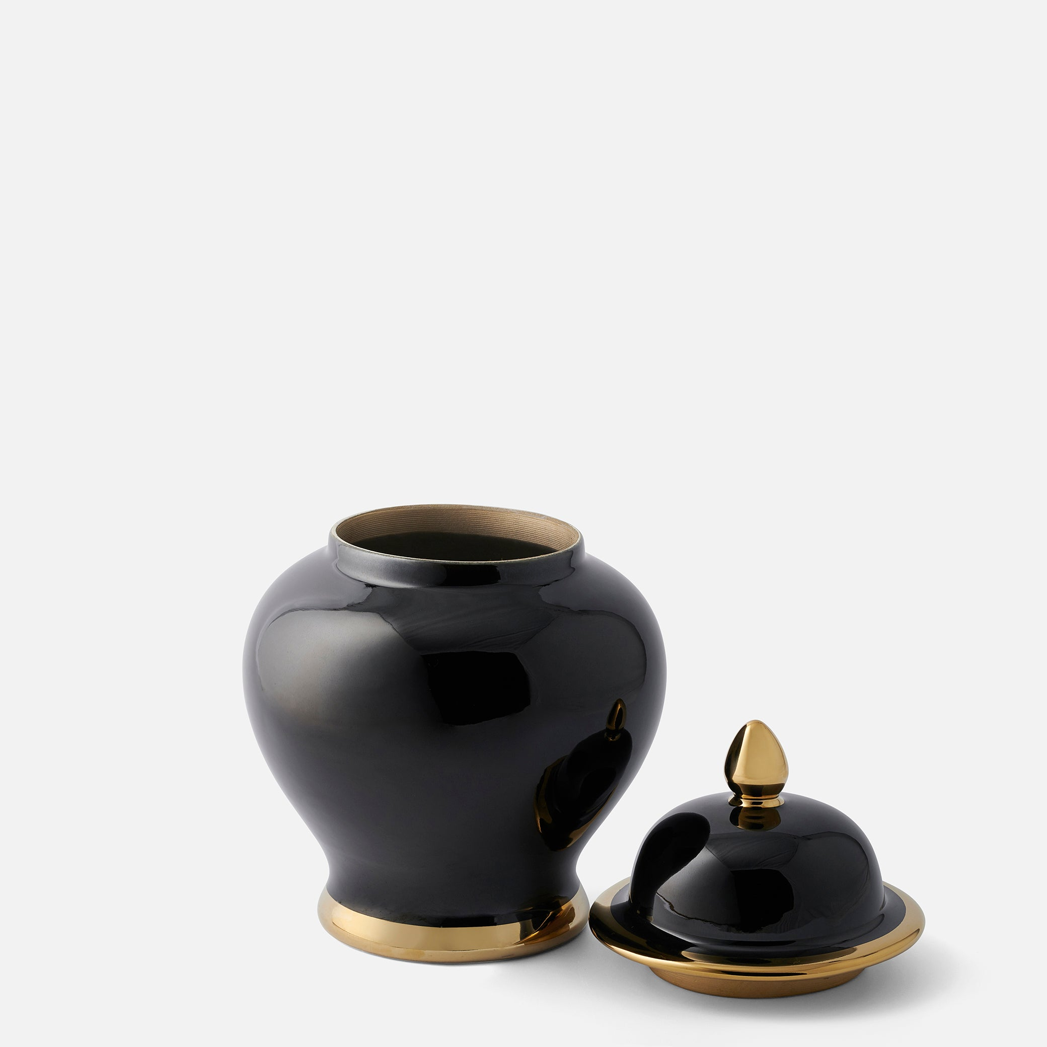 Classic Small Black Ginger Jar with Gold Edging