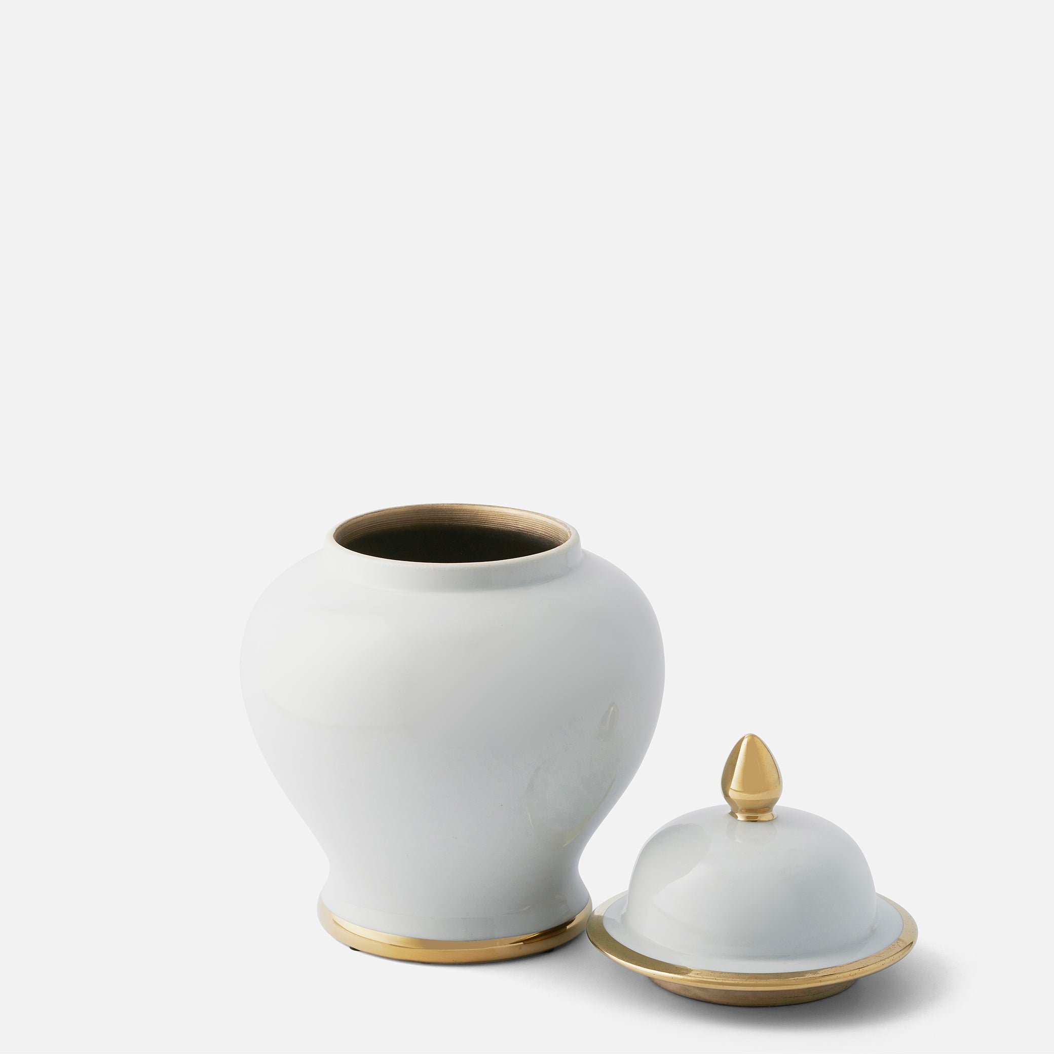 Classic Small White Ginger Jar with Gold Edging