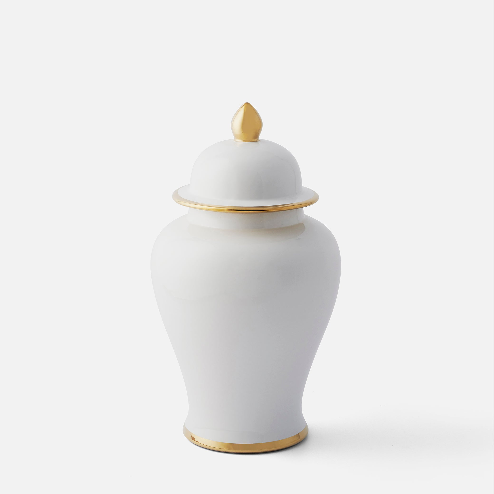 Classic White Ginger Jar with Gold Trim