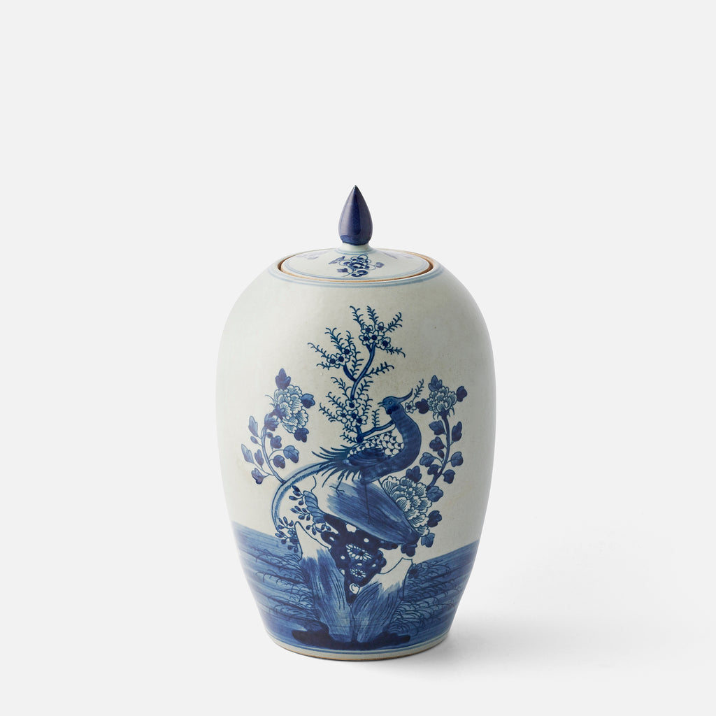 Blue and Grey White Pheasant Jar