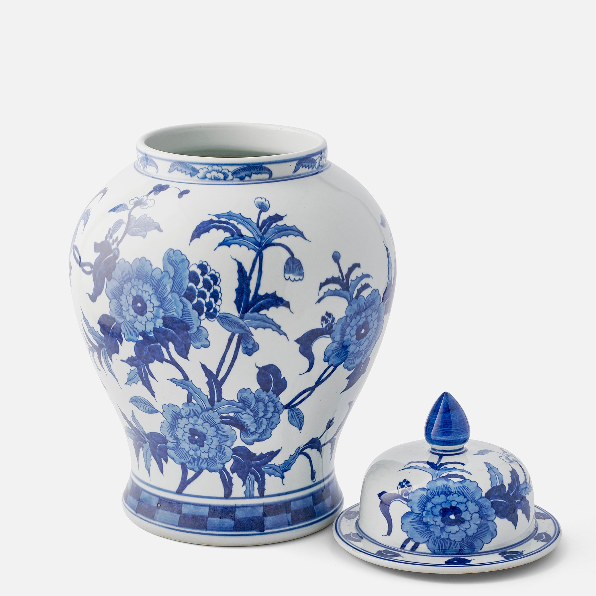 Large Blue and White Decorated Ginger Jar
