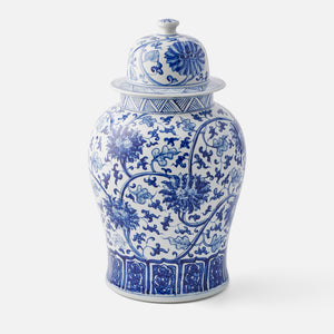 Hand Painted Blue and White Floral Ginger Jar