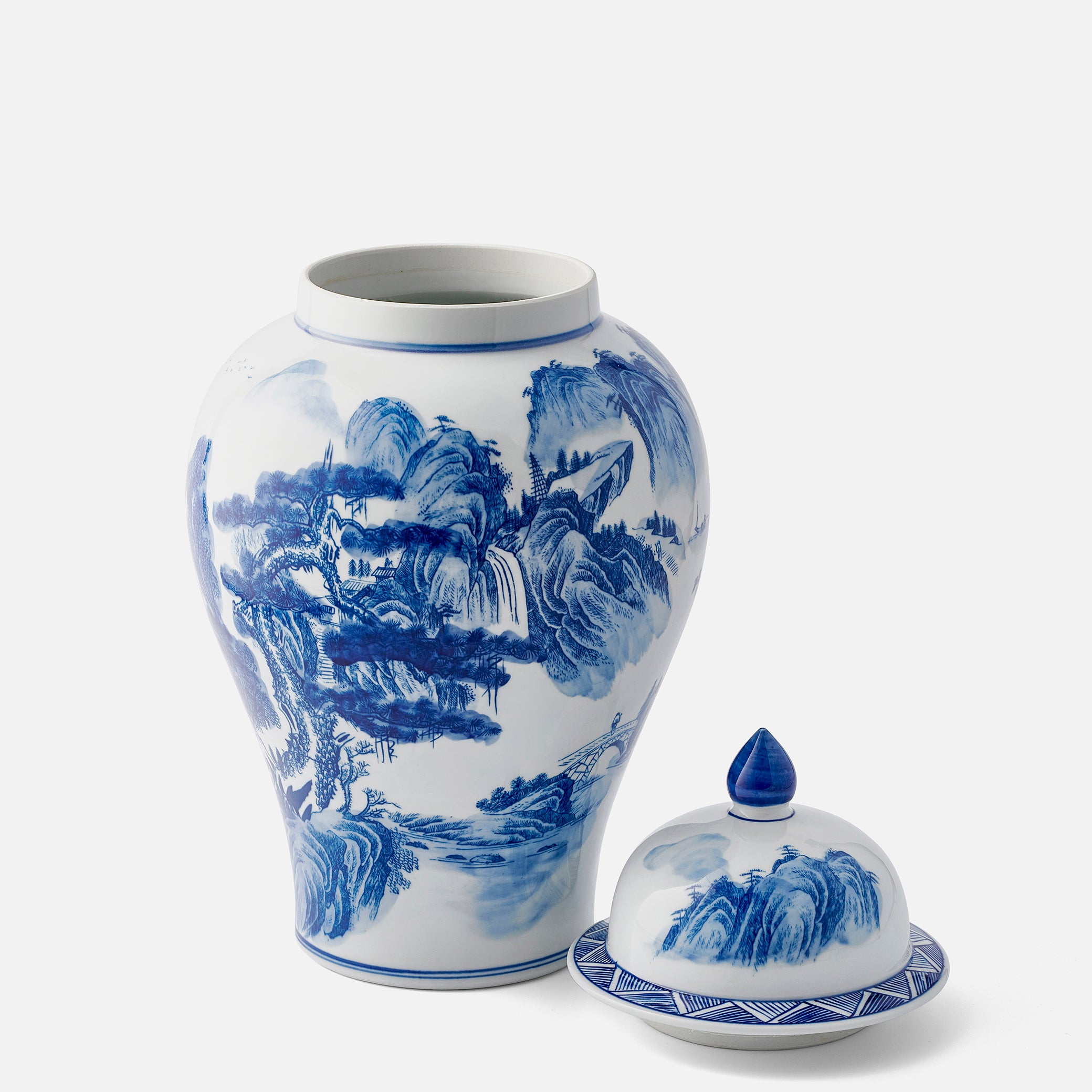 Large Ginger Jar with traditional Chinese Country Scene