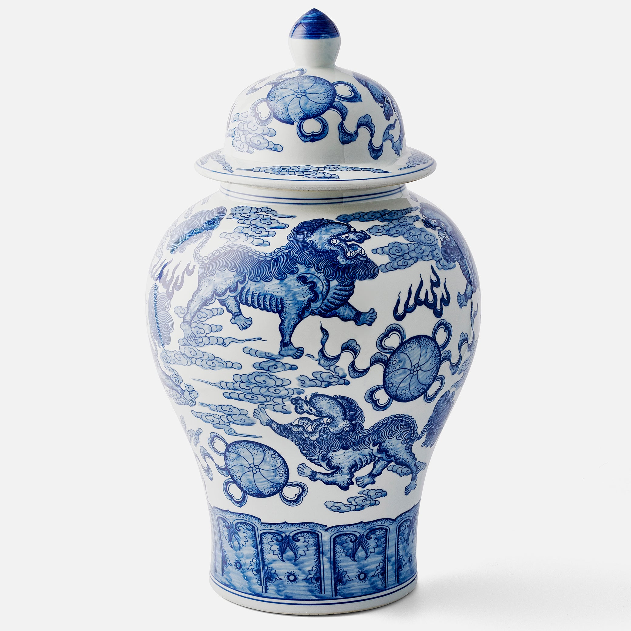 Large Chinese Kylin Hand Painted Ginger Jar