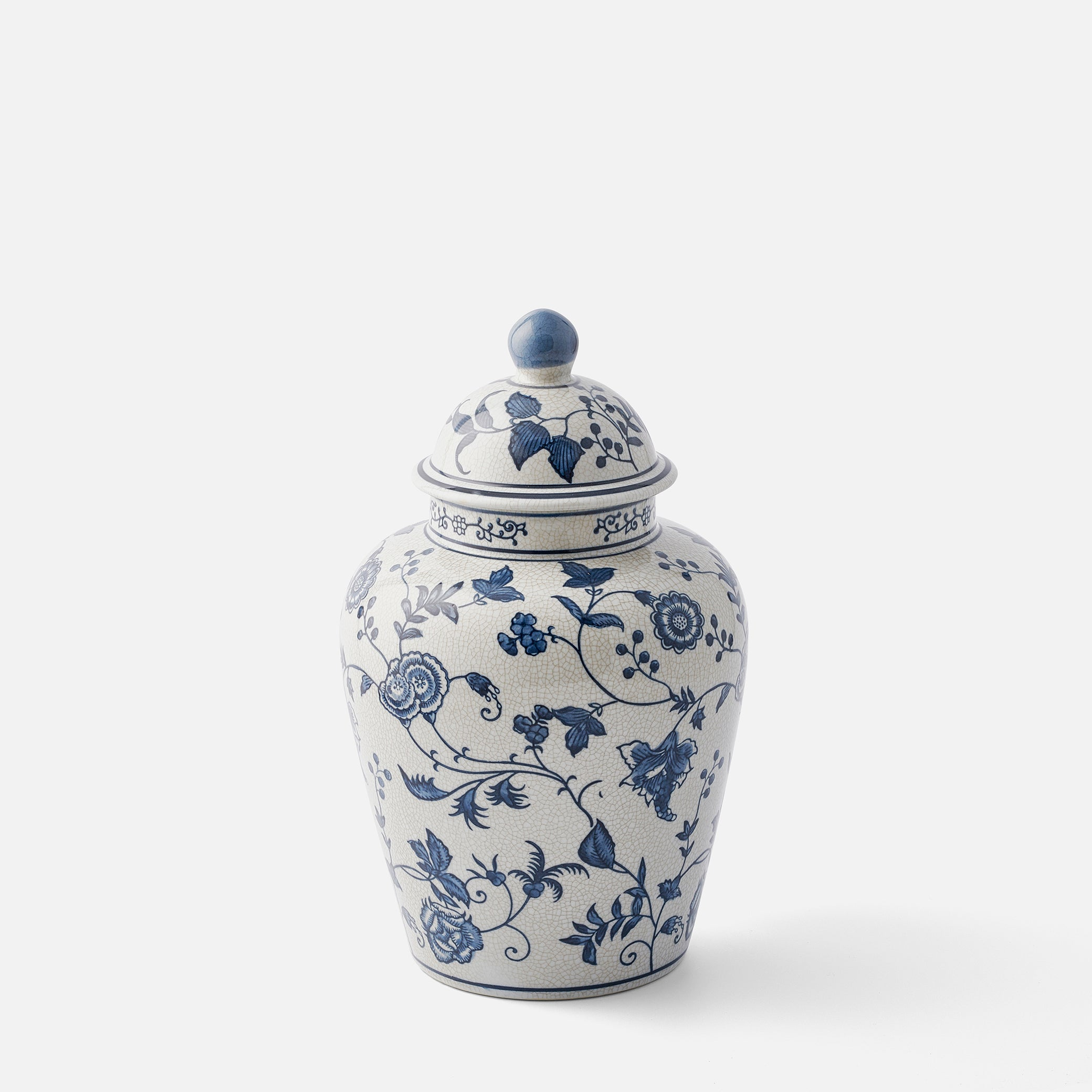 Decorated crackle glaze Ginger Jar