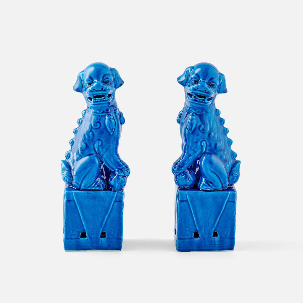 Classic Blue Foo Dogs, Pair