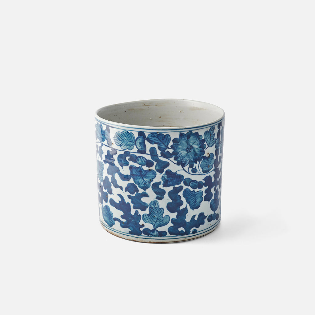 Floral Planter - Large - Blue and White - Antiqued Look