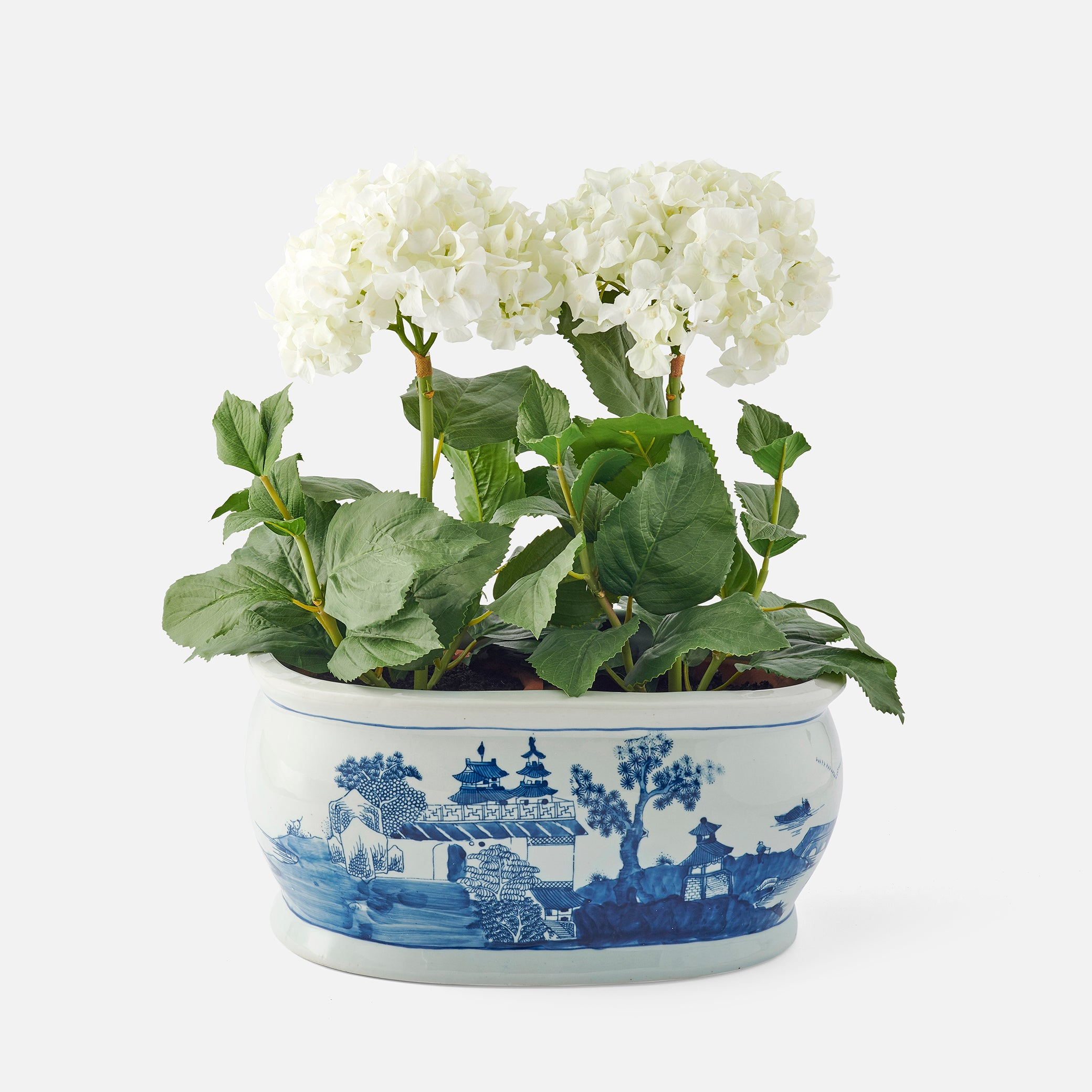 Large Blue and White Oval Planter