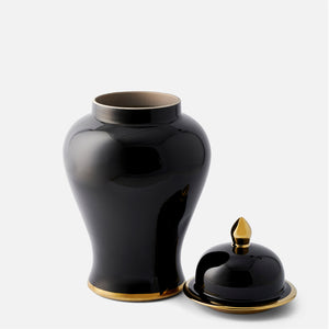 Classic Black Ginger Jar with Gold Trim