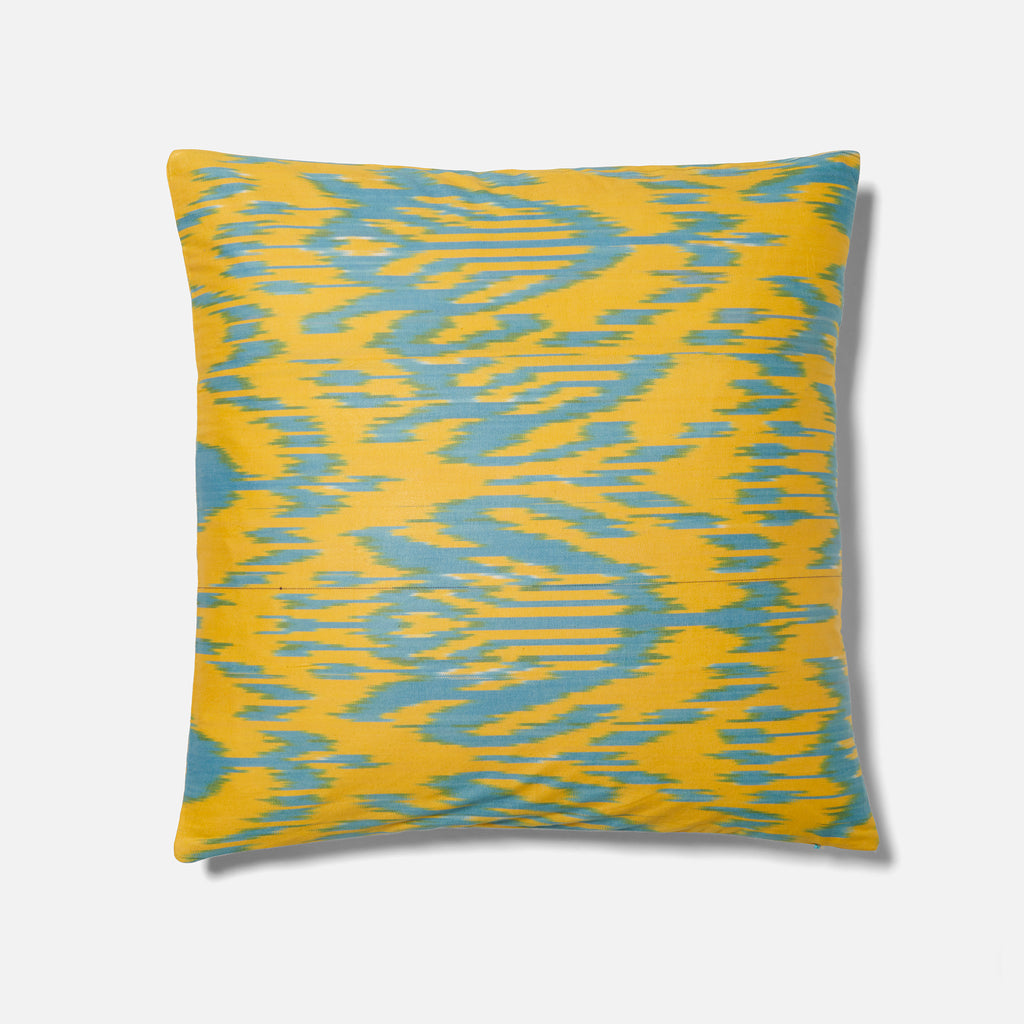 Large Blue and Yellow Ikat Cushion