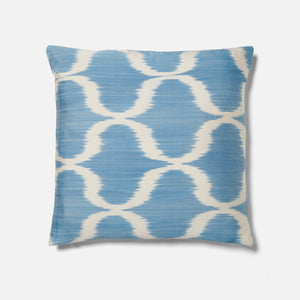 Blue Silk and Cotton Ikat Pattern Cushion