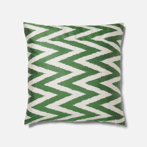 Green Zig Zag Ikat Pattern Cushion