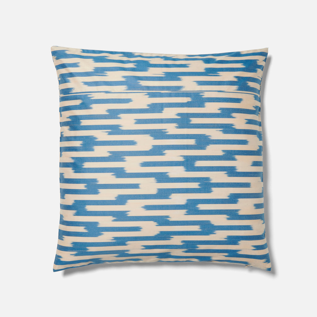 Light Blue Jagged Ikat Pattern Cushion