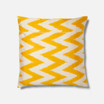 Yellow Jagged Ikat Pattern Cushion