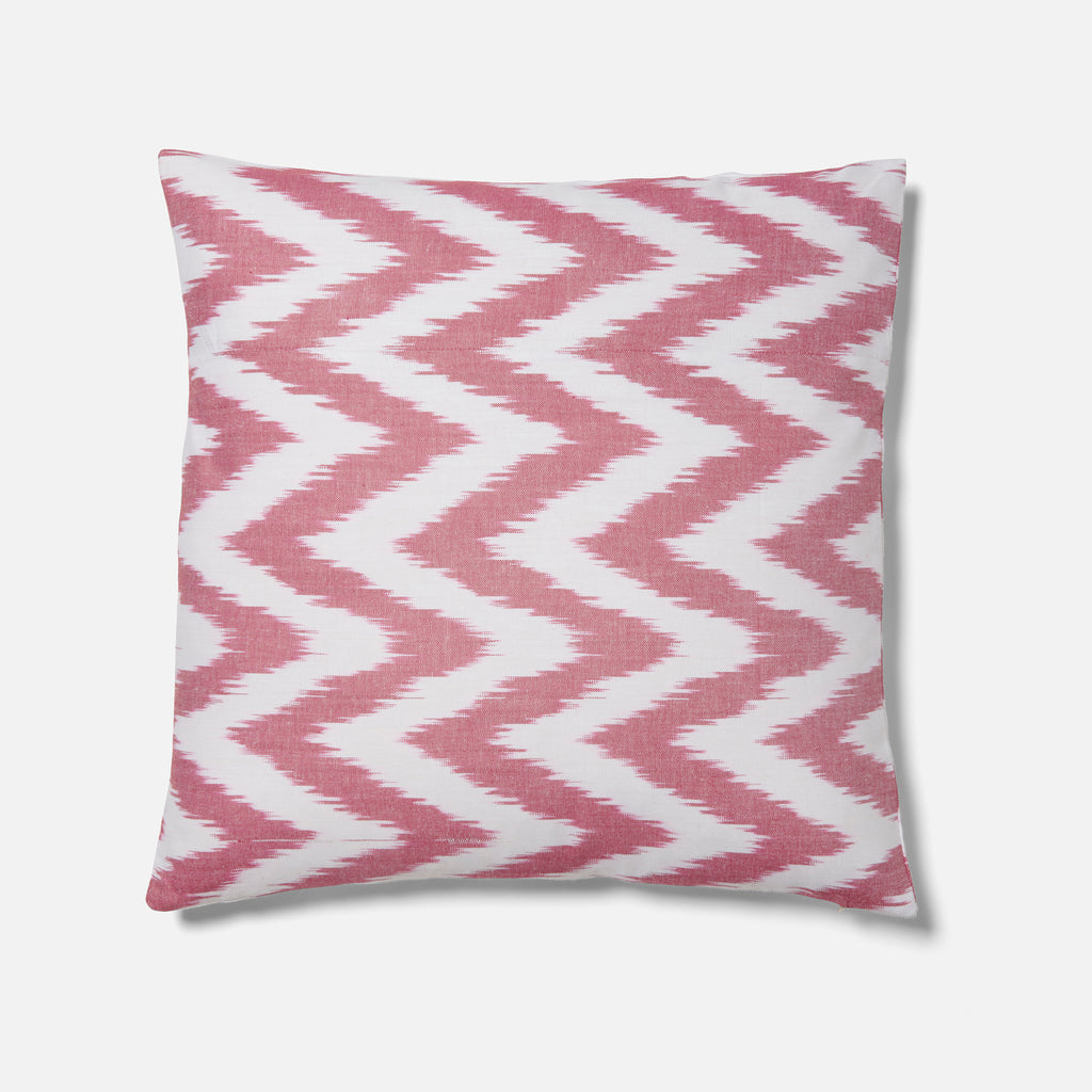 Pink Jagged Ikat Pattern Cushion