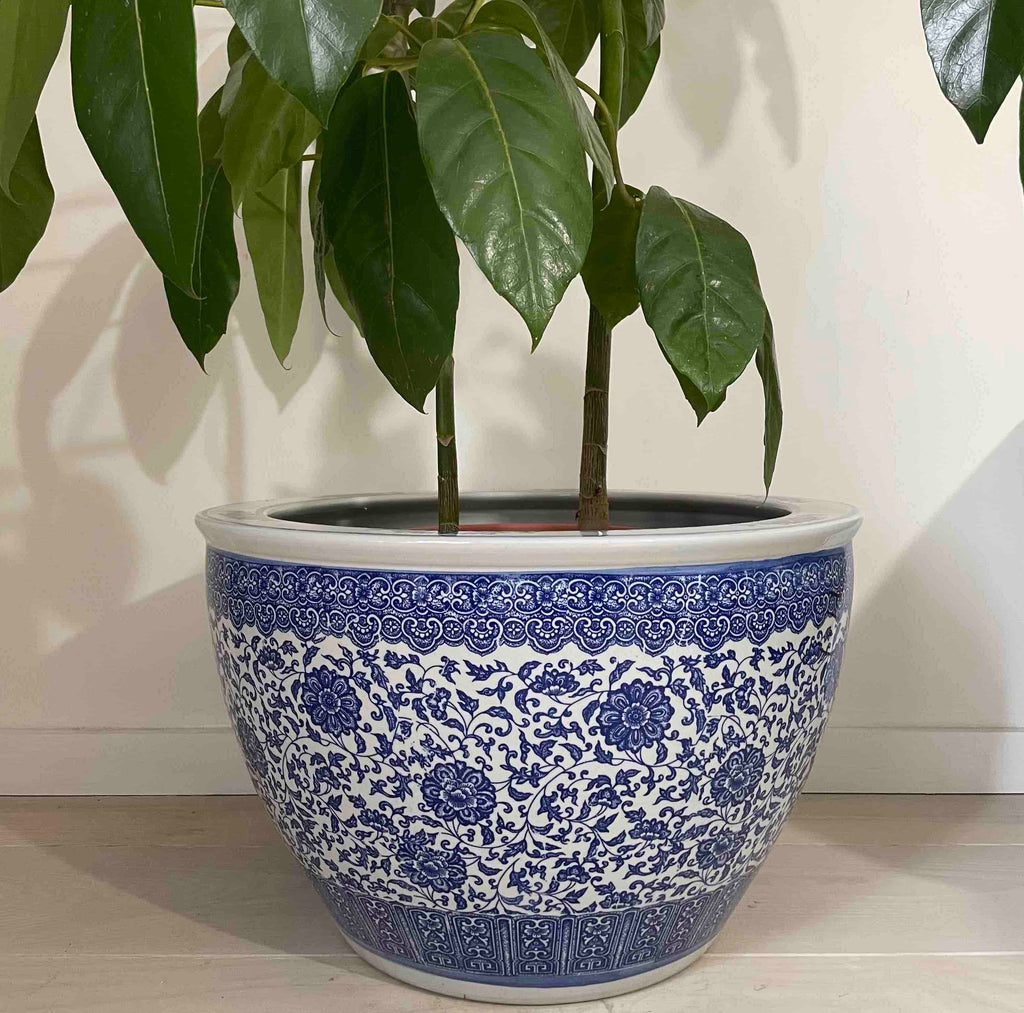 Extra Large Blue and White Planter