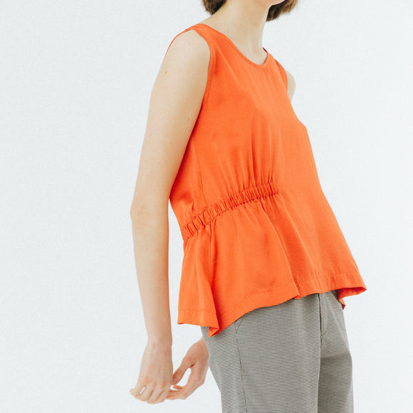 Top 'Red Gathered Silk Top'