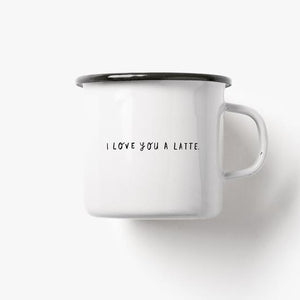 Emaillebecher 'Love You A Latte'