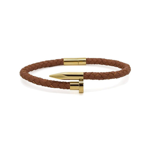 NAIL BRACELET<br>BROWN GOLD