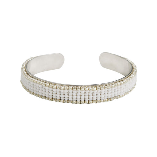 SMALL CUFF <Br>White and Silver