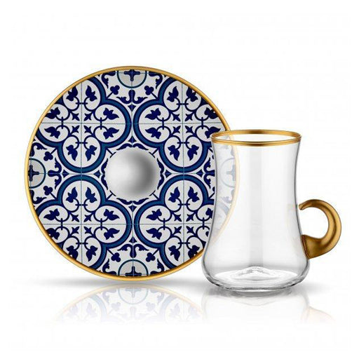 DERVISH TILES TURQUOISE <br>CLEAR TEA SET WITH HANDLE