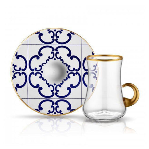 DERVISH TILES FLOWER <br>CLEAR TEA SET WITH HANDLE