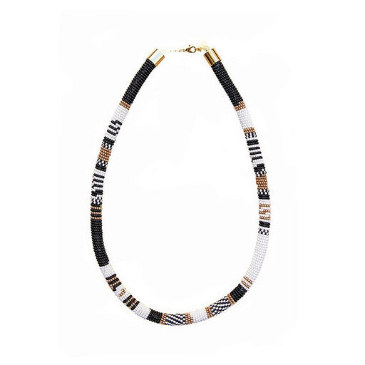 TUBE NECKLACE <BR>Black and White