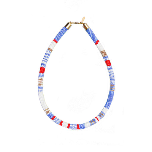 TUBE NECKLACE <BR>Red and White