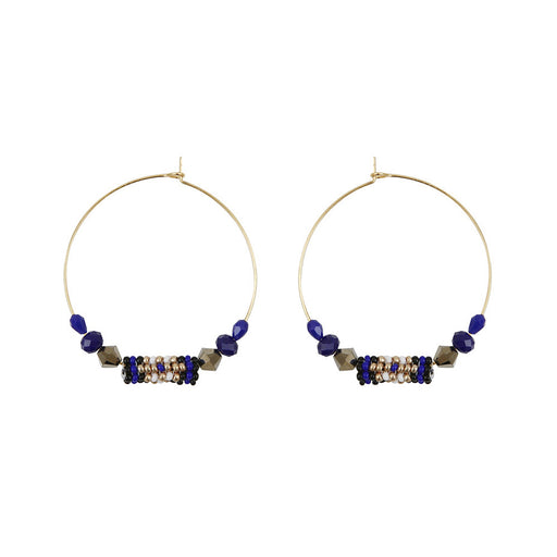 HOOP EARRINGS <br>Dark Blue and Gold